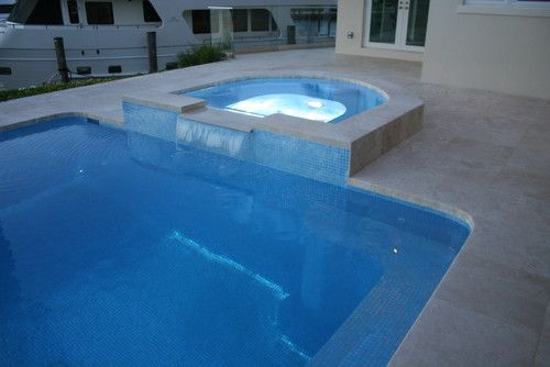 Iridescent glass tile pool spa with inserts of for Pool design hours