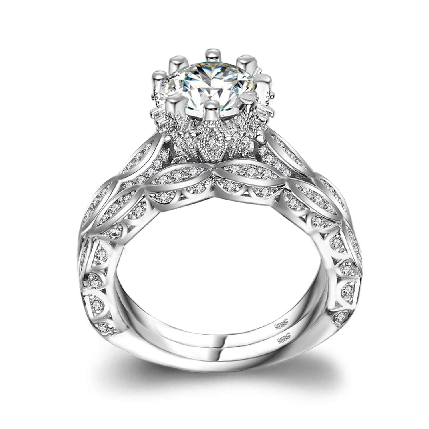 Lsooyh 18k Gold Plated Band Ring Sets Cz Cubic Zirconia For