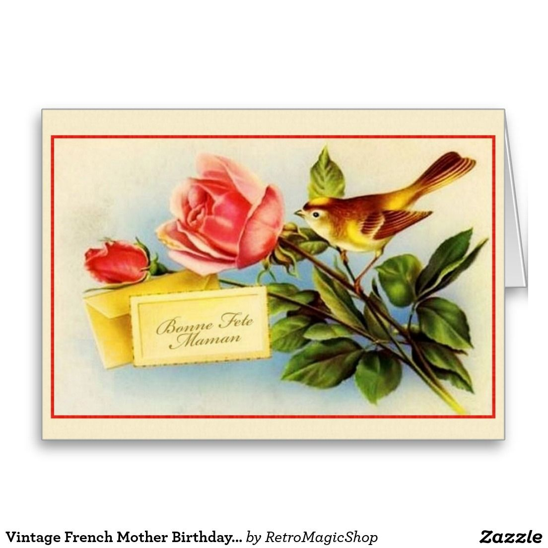 Cartao Frances Do Aniversario Da Mae Do Vintage Zazzle Com Br Birthday Greeting Cards Vintage Cards Mother Birthday