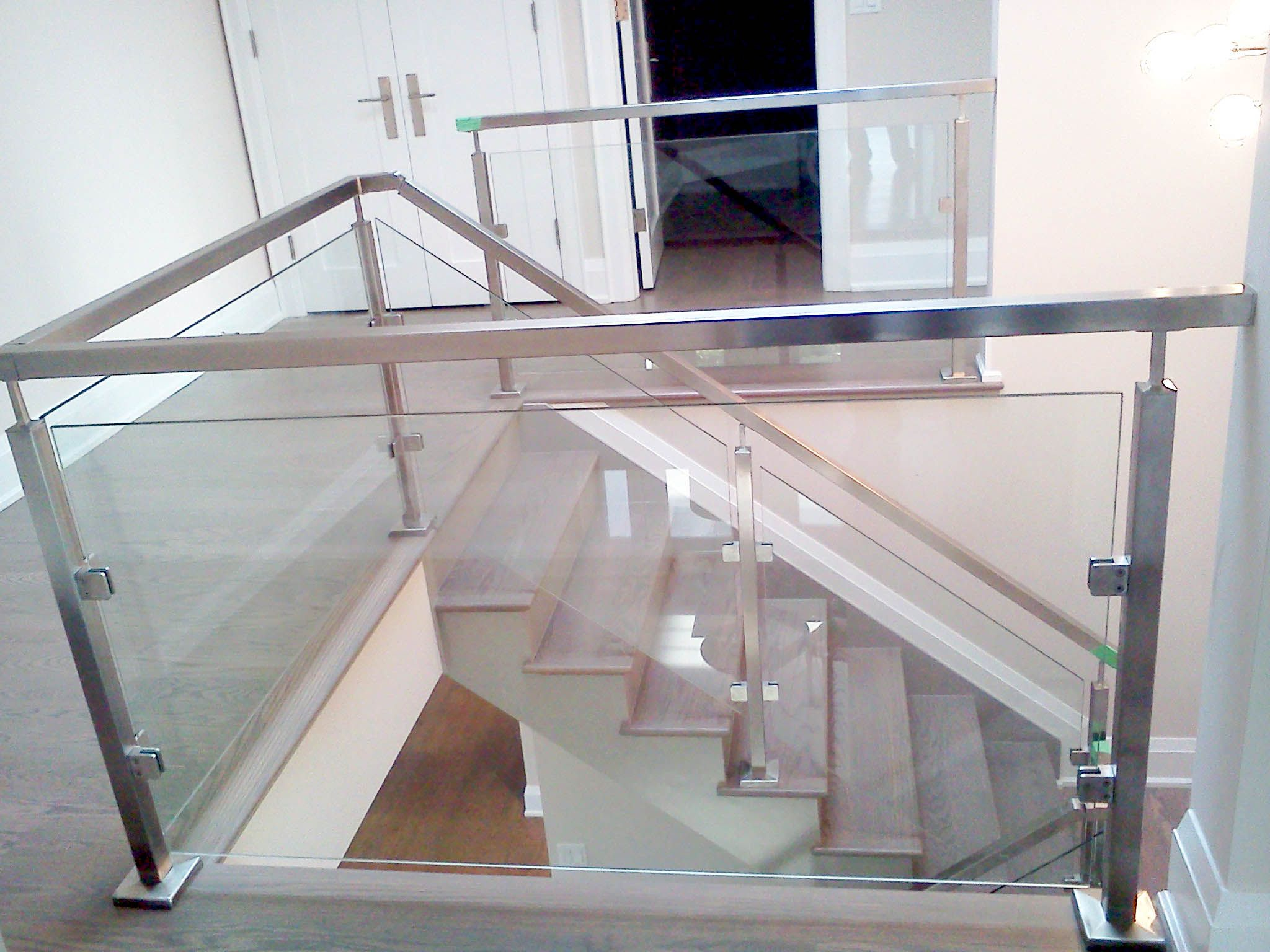 Square Stainless Railing And Posts W Glass Modern Stairs