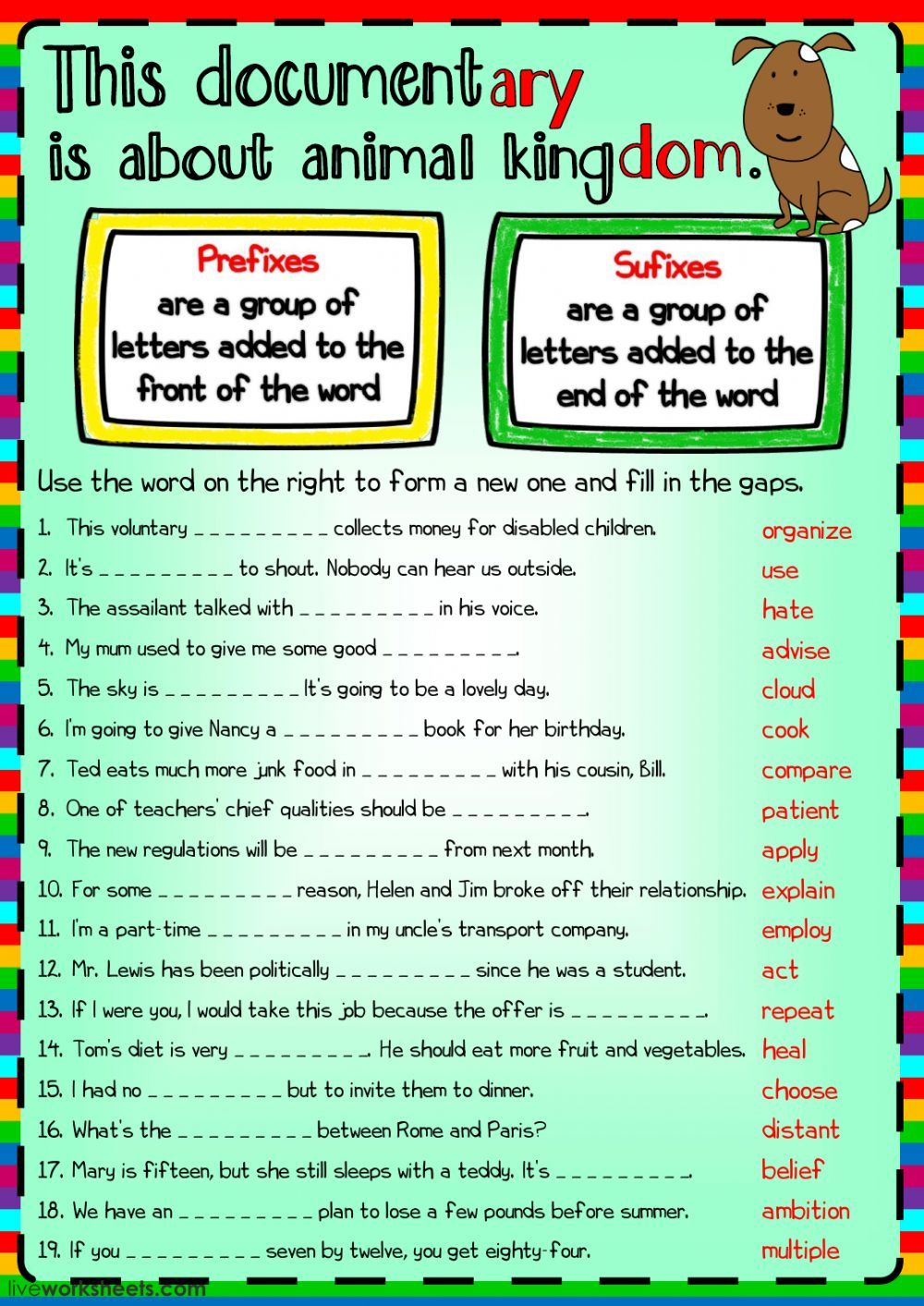 Word Formation interactive and downloadable worksheet. You