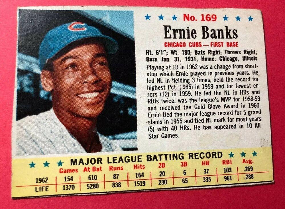 1963 post cereal 169 baseball card ernie banks chicago