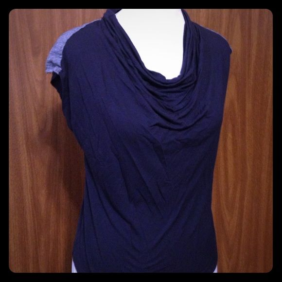 New York & co. Cute draped top Navy blue with demin shoulder design. Very comfy. New York & Company Tops
