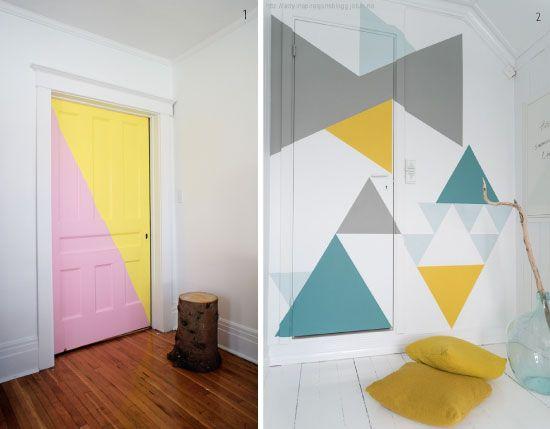 Peindre ses portes avec des formes geometriques portes en 2018 pinterest interieur portes - Peindre des portes ...