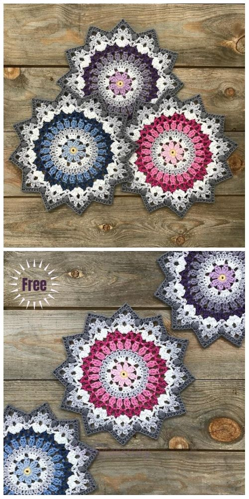 Crochet Winter Mandala Free Crochet Pattern & Paid is part of Crochet mandala, Crochet, Crochet squares, Crochet mandala pattern, Free crochet pattern, Crochet winter - Crochet Winter Mandala Free Crochet Pattern & Paid