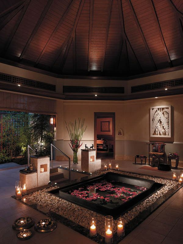 Spa Design Ideas interior design Luxurious Spa Bathtub Design Ideas With Surrounded By White Gravel