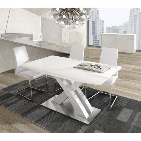 Mesa de comedor moderna extensible, color: blanco | escritorios ...
