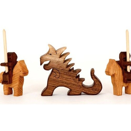 Wooden Knights Horses Dragon Set Castle Play Wood Wooden