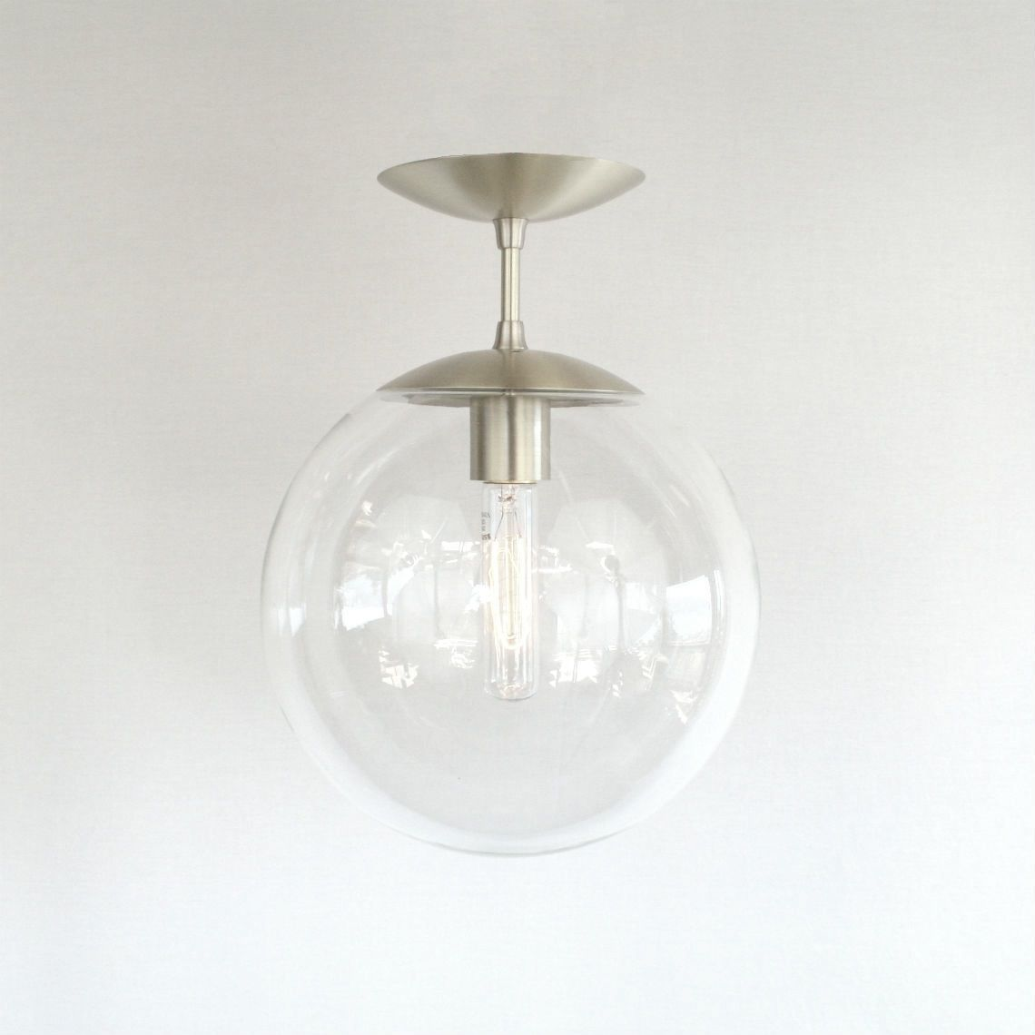 Orbiter 10 semi flush pendant light flying saucer canopy and mid century modern clear 10 globe semi flush pendant light with its flying saucer shaped arubaitofo Gallery