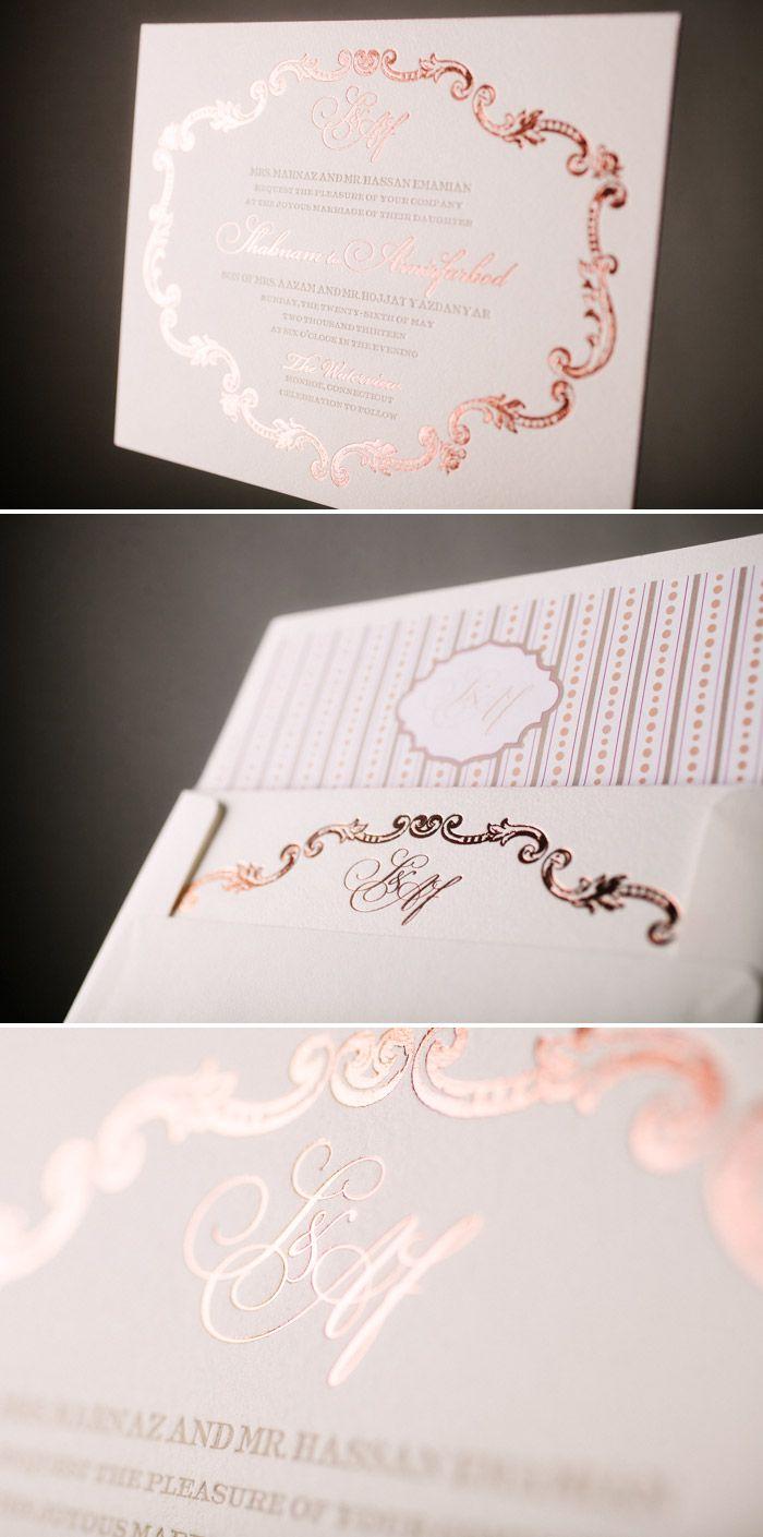 Romantic a bientot in rose gold foil wedding cards pinterest