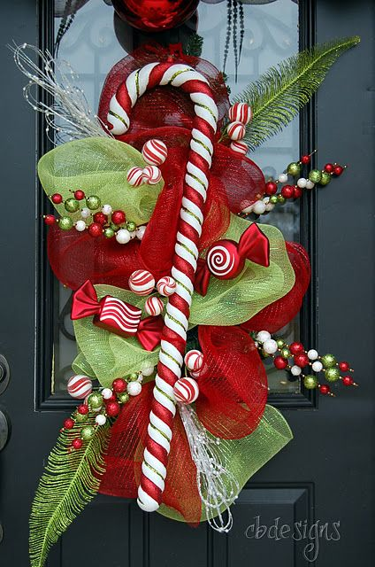 candy cane door swag with deco poly mesh Christmas Pinterest