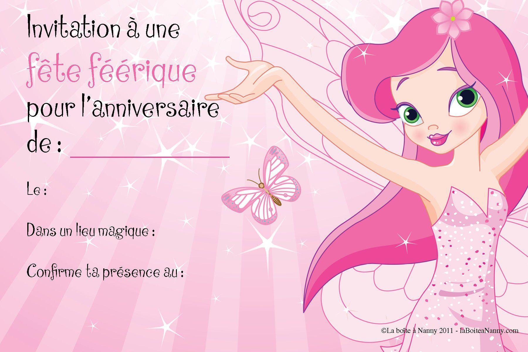 Turbo carte d'invitation anniversaire gratuite à imprimer reine des  BG97