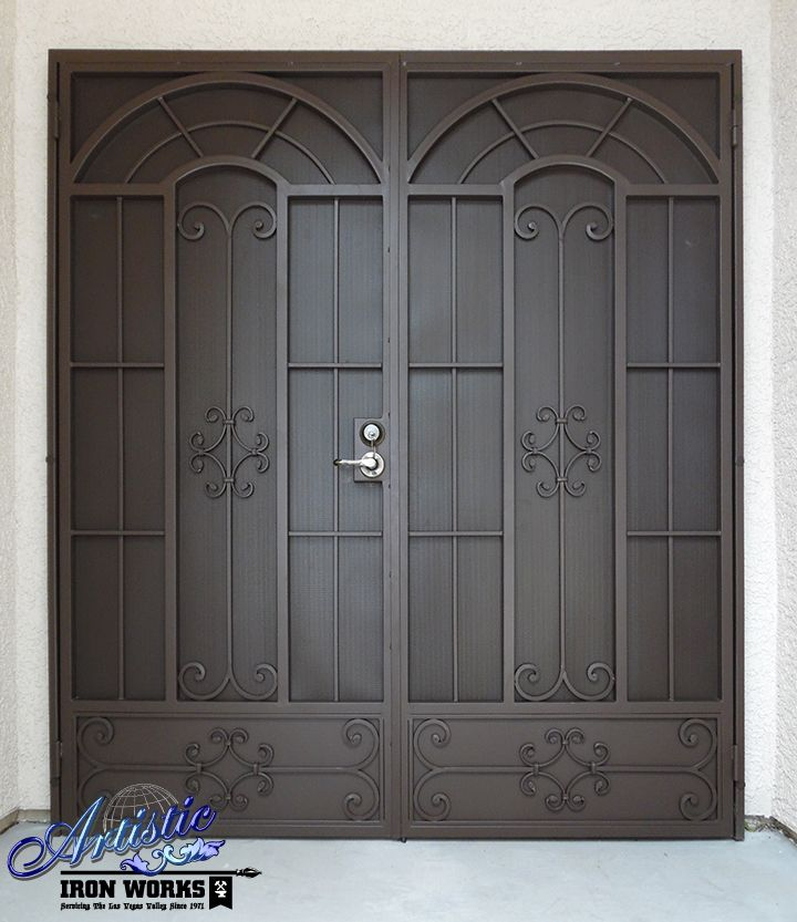 Classic Modern Wrought Iron Security Screen Double Doors Wrought