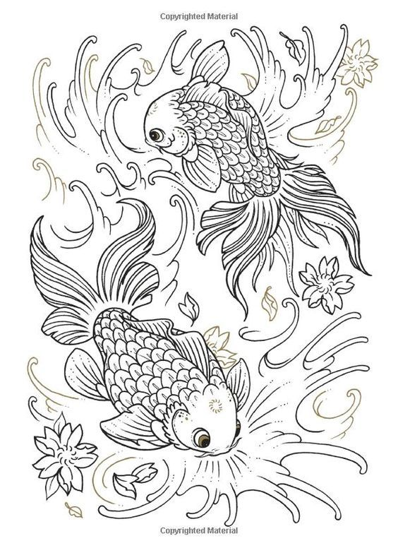 Coloring Koi And Coloring Books On Pinterest Fish Coloring Page Tattoo Coloring Book Animal Coloring Pages
