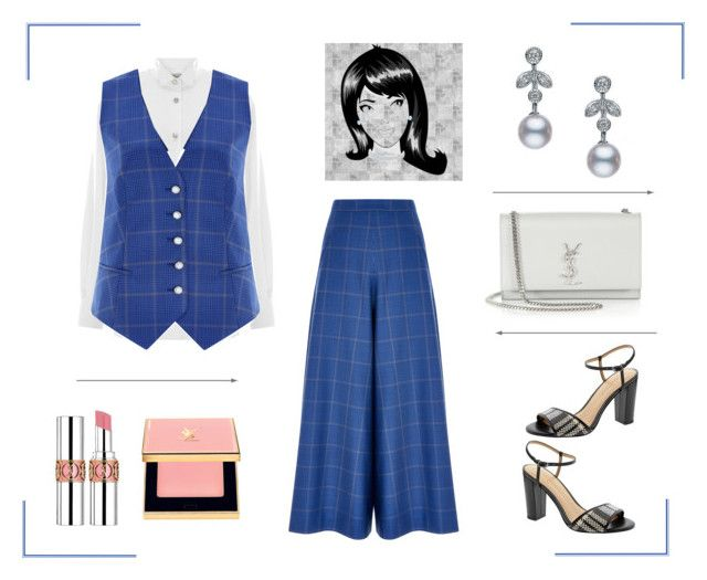 """""""Checked Culottes & Vest"""" by dana-debanks ❤ liked on Polyvore featuring Temperley London, Banana Republic, Yves Saint Laurent and Mikimoto"""