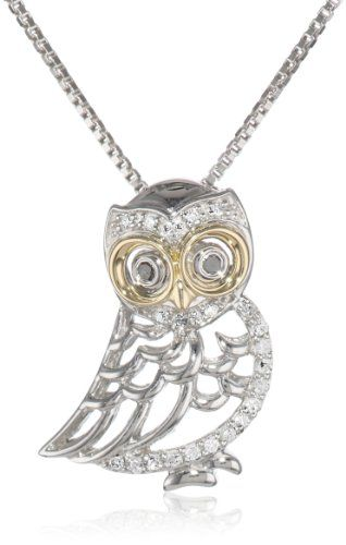 "XPY Sterling Silver and 14k Yellow Gold Owl and Diamond Pendant Necklace, 18"" Amazon Curated Collection,http://www.amazon.com/dp/B005GU9WS0/ref=cm_sw_r_pi_dp_h3UZsb1H2YGM7HNT"