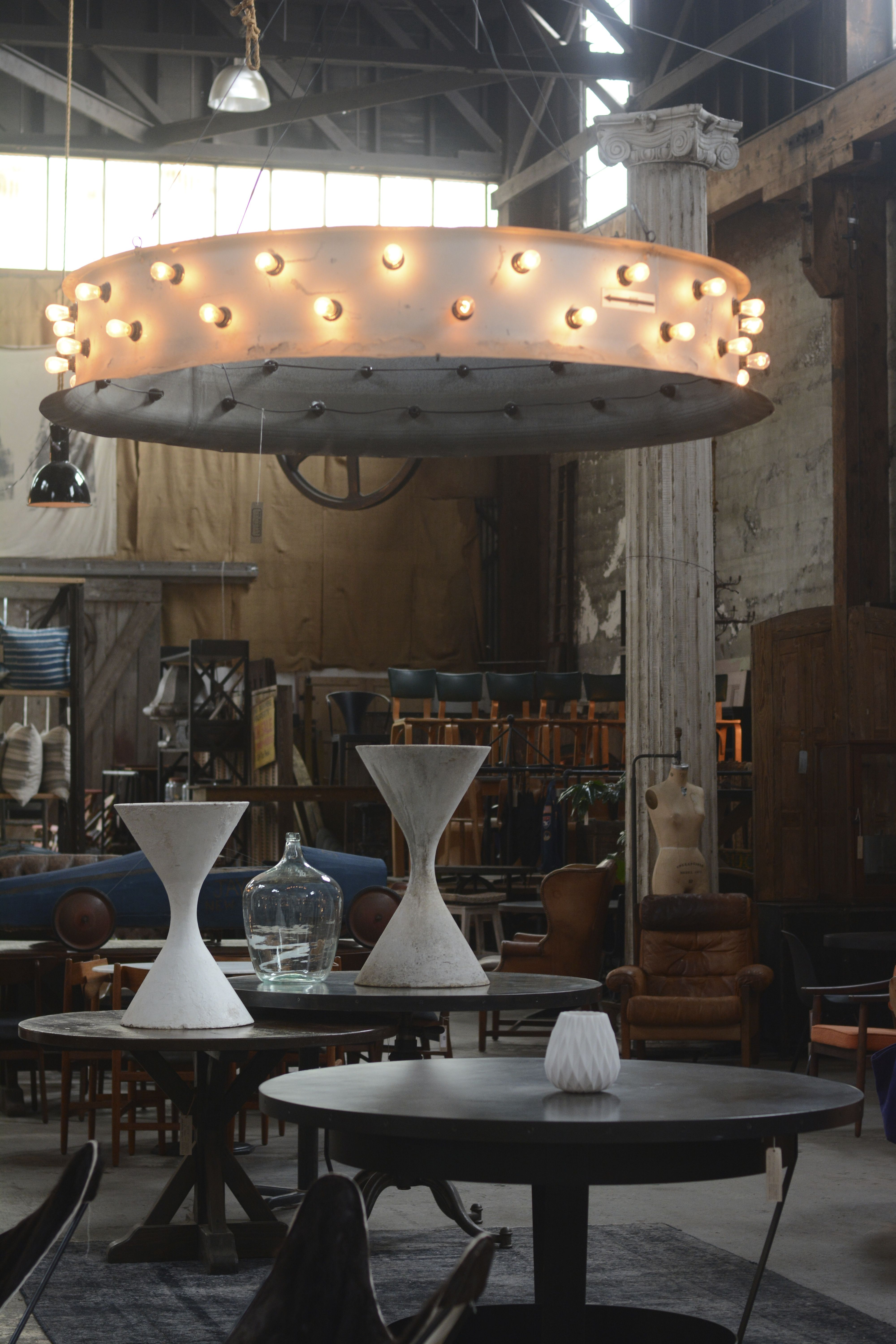 Moody mountain modern in our San Francisco showroom with our dramatic custom lighting and sculptural antiques. Architectural pottery and custom decor made with reclaimed materials. Big Daddy's Antiques. http://www.bdantiques.com/