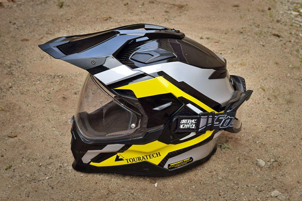 Touratech Carbon Fiber Adventure Helmet With Goggle Quick Straps Integration