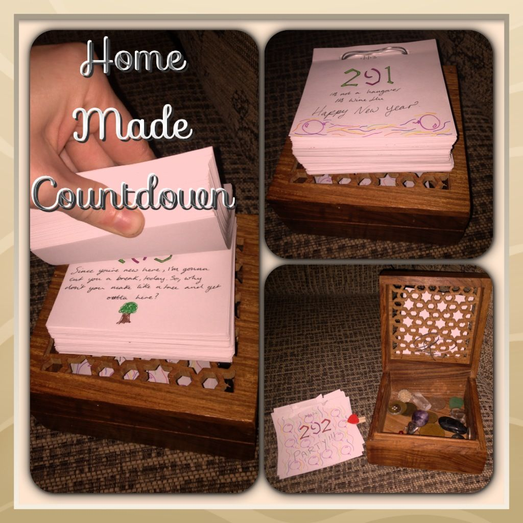 A personal homemade countdown until your wedding day! Each piece of paper has individual days on it with a saying or a quote attached to a box full of precious  items. Also add family's birthdays in the countdown and ask them to write you a message themselves.