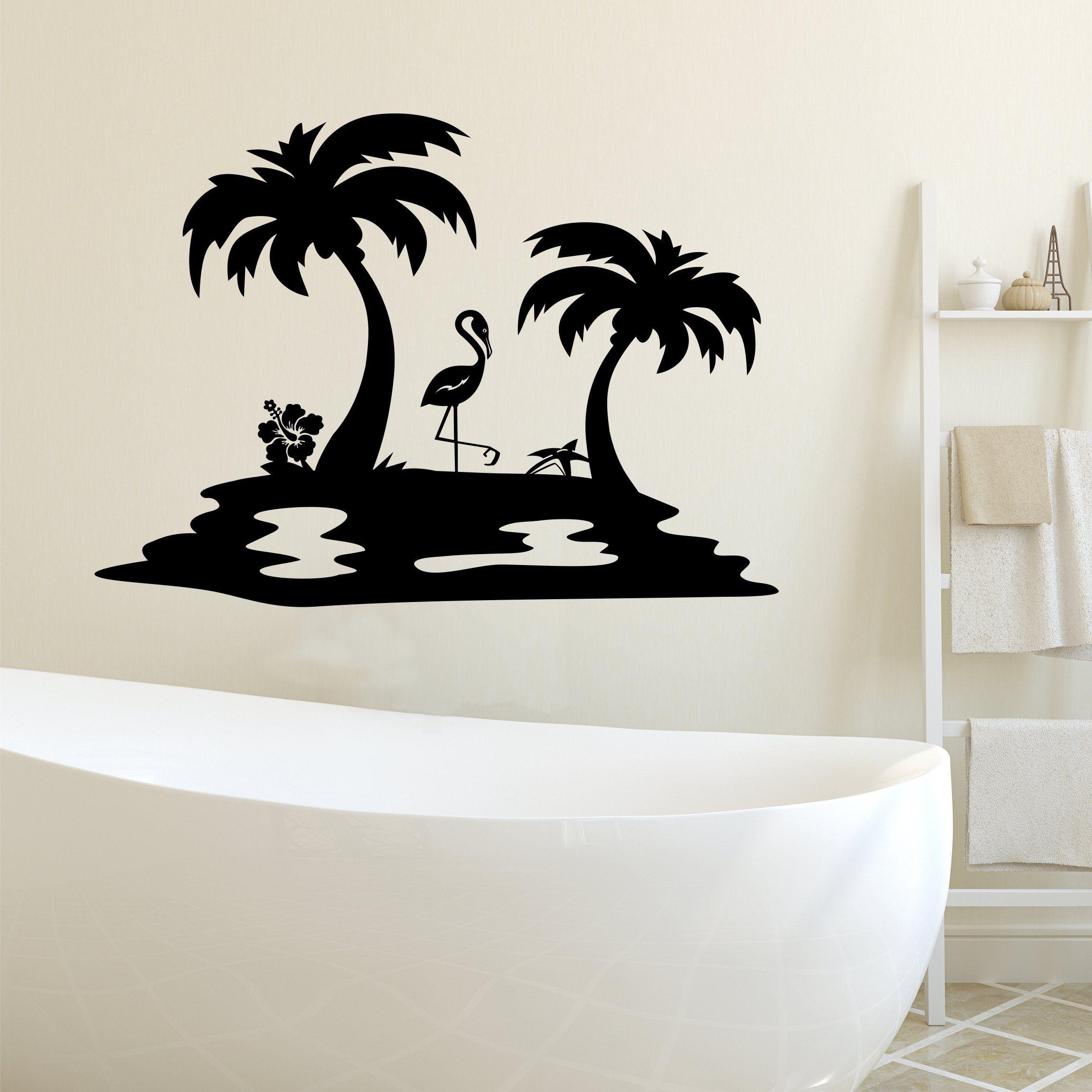 Bathroom Wall Decal Island Palm Trees Beach House Decor Vinyl