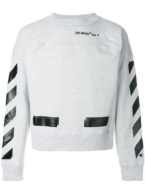 X Neck Crew Champion White Sweatshirt Off off wRx0Bqqg