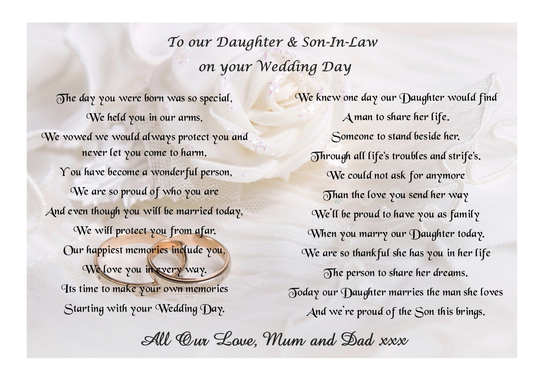 Poem For My Daughter And Son In Law On Your Wedding Day Wedding