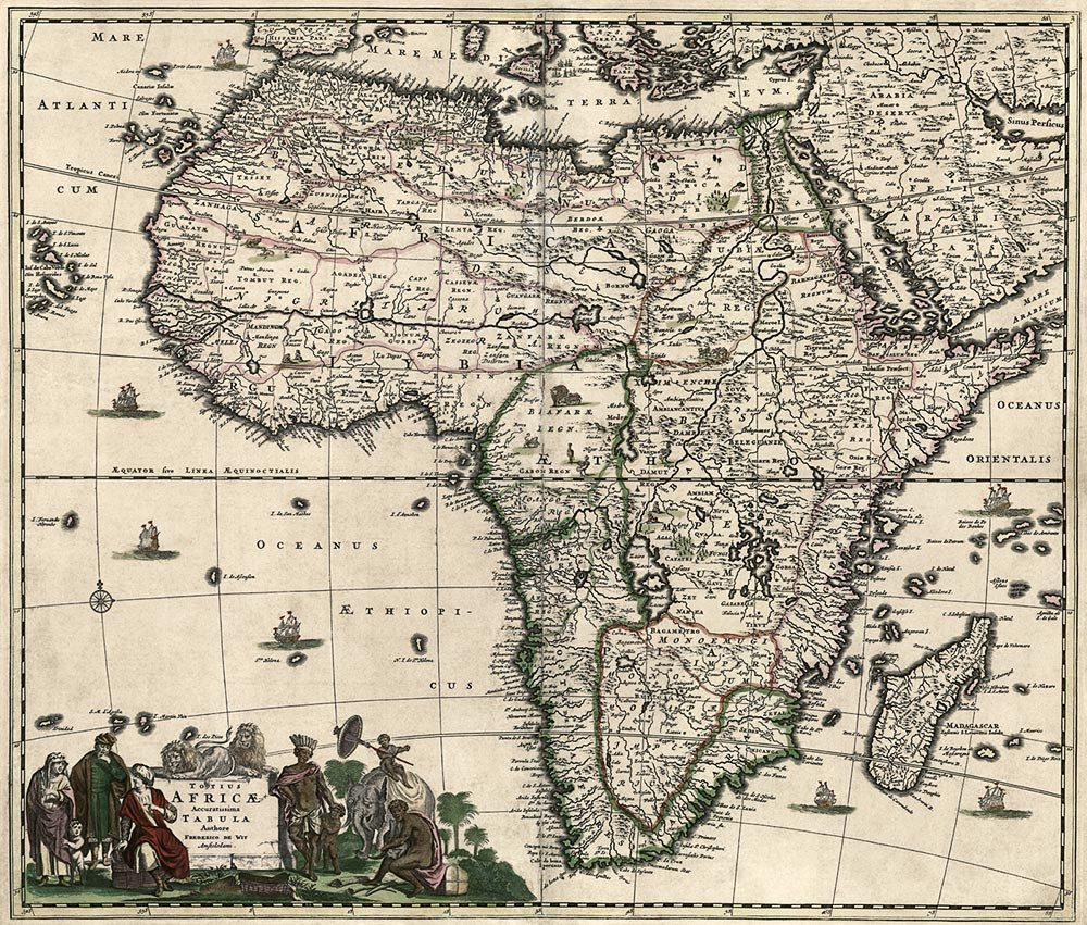 Antique Map of Africa c1688 #antique #maps #Africa | Old Maps of