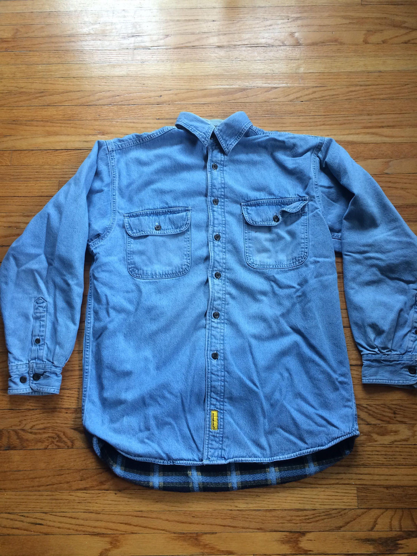 Vintage Stanley Tools Flannel Lined Super Heavyweight Button Up Carpenter Denim Shirt Jacket Size Medium By Vintageva Shirt Jacket Denim Shirt Button Up Shirts