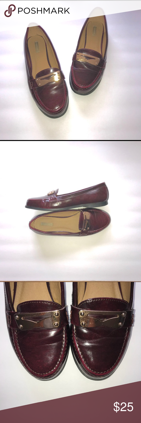 aa1c6aa22cb Burgundy Loafers w  Gold Accents • Cooperative Burgundy Loafers w  Gold  Accents • Cooperative Womens Size 7. Super cute patent leather Loafers •  Can be worn ...