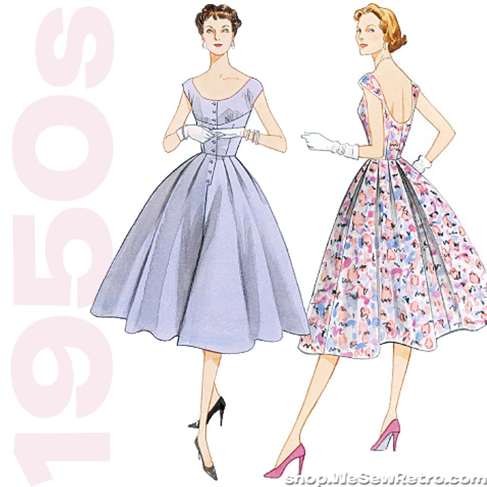 1950s Vintage Vogue V2960 Misses Dress Sewing Pattern Vogue 2960 Vintage Vogue Vogue Sewing Patterns Dress Sewing Pattern