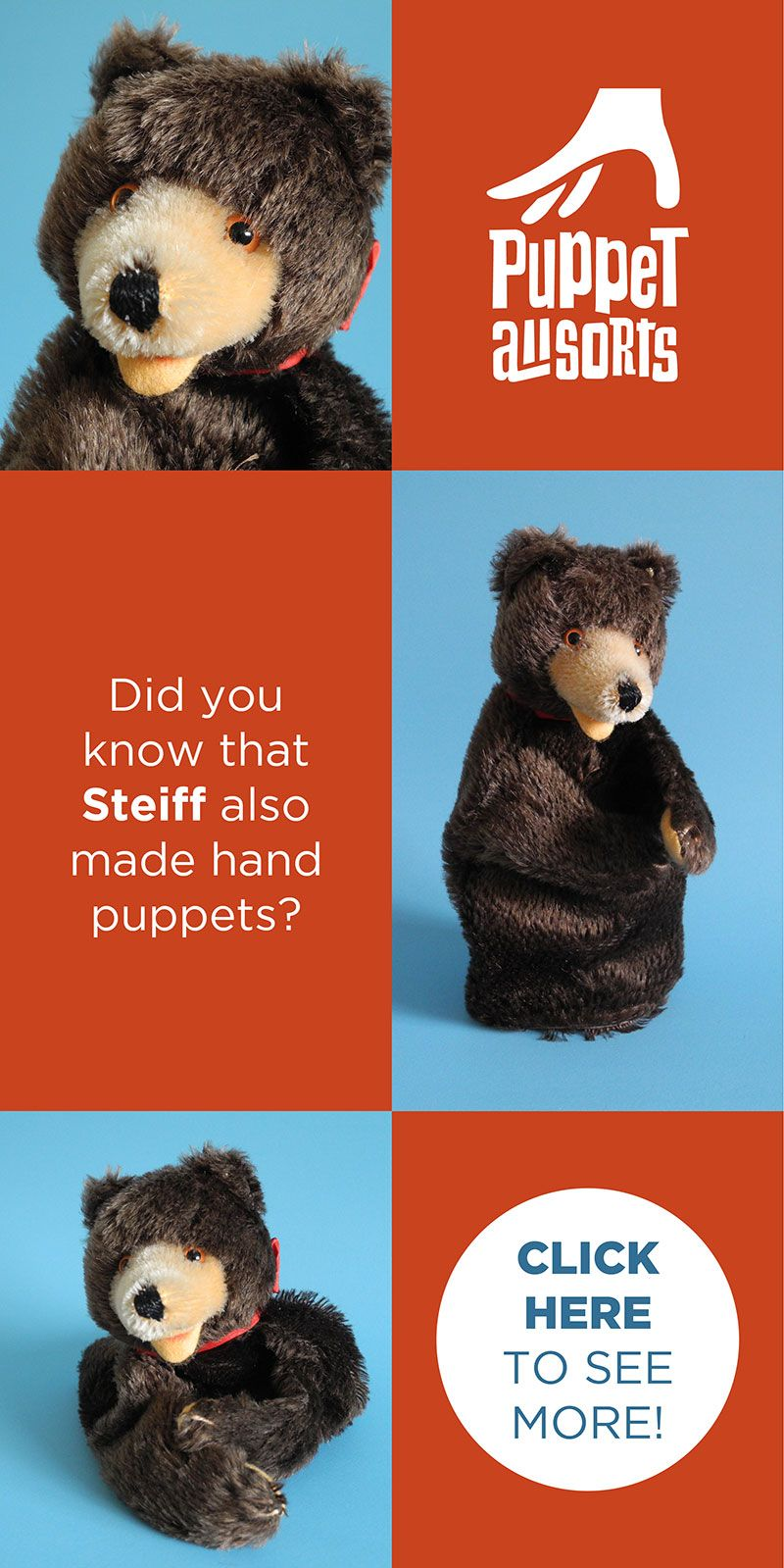 STEIFF 195978 Teddy BEAR Hand Puppet Adorable Original