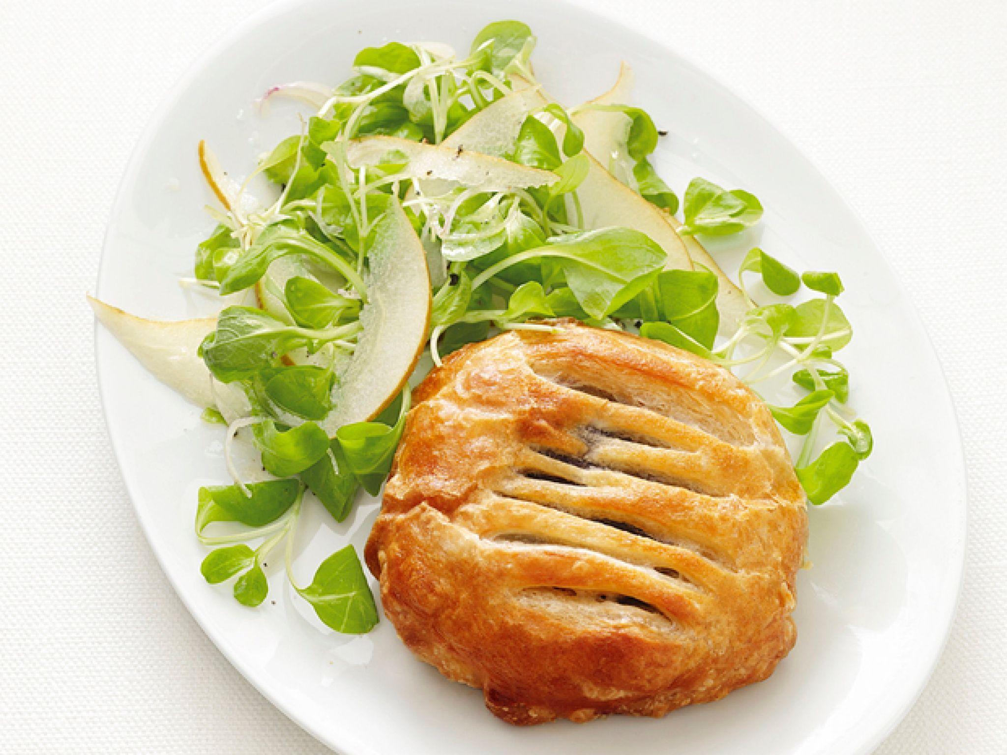 Mushroom Pies with Pear Salad recipe from Food Network Kitchen via Food Network