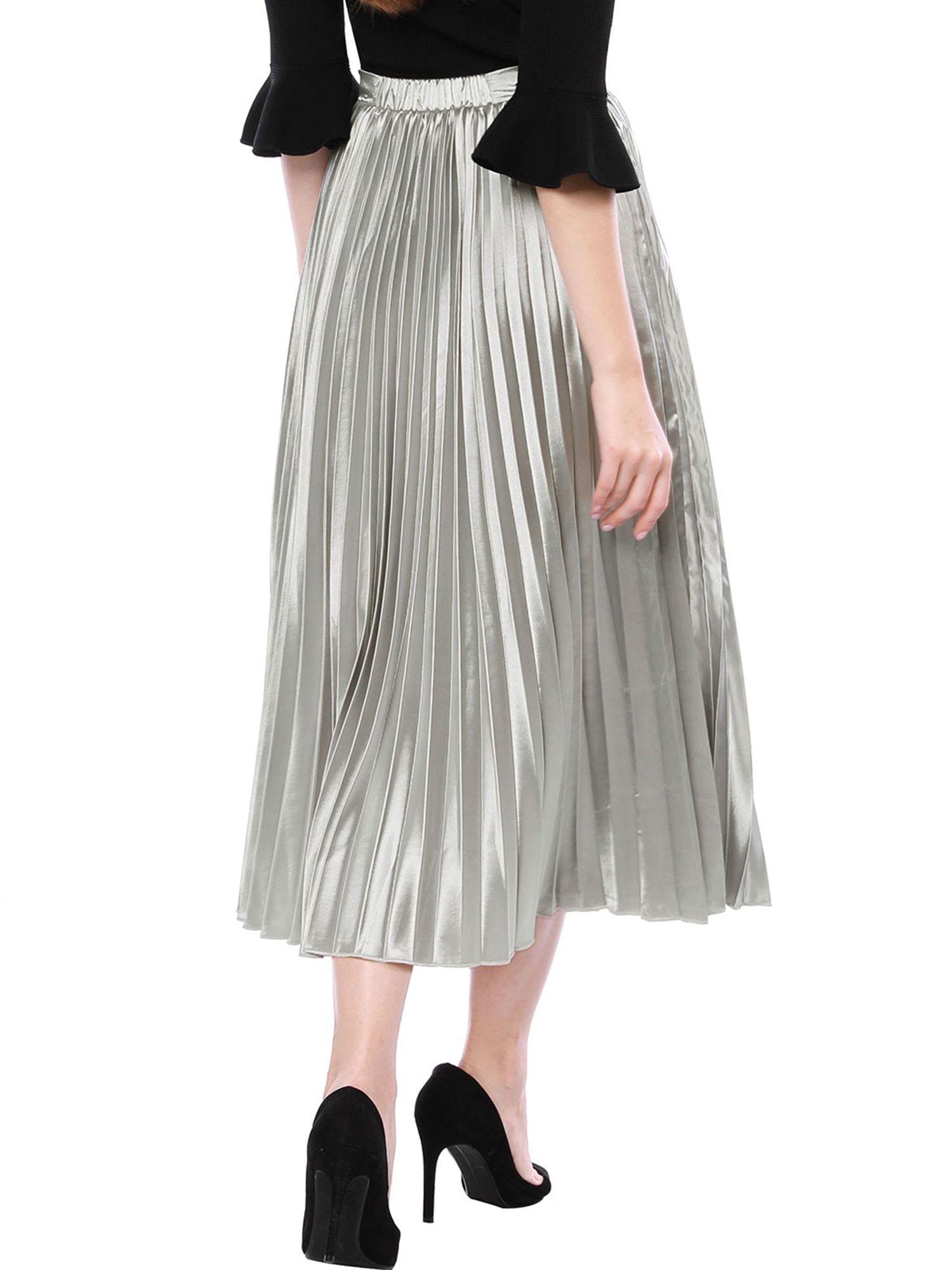 6965c3886 Women's High Waist Party Accordion Pleats Metallic Midi Skirt Dress#Party,  #Accordion, #Waist