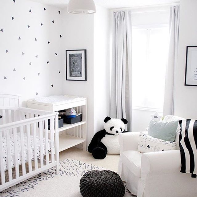 monochromatic magic in this sweet nursery and how fun is that panda via lightandairy. Black Bedroom Furniture Sets. Home Design Ideas