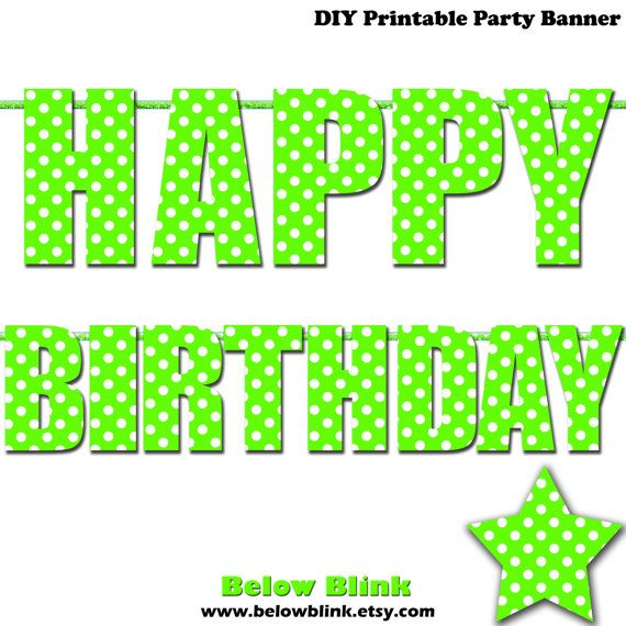 Lime Green Happy Birthday Letter Banner Lime Green Polka Dots