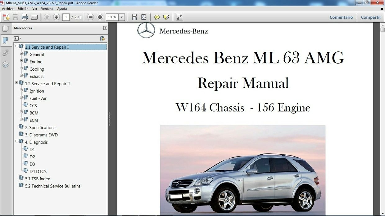 mercedes benz ml 63 amg w164 manual de taller workshop