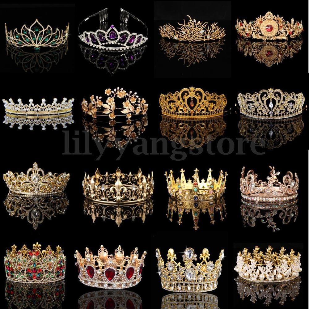 Bridal Princess Rhinestone Pearl Crystal Hair Tiara Wedding Crown Veil Headband | eBay
