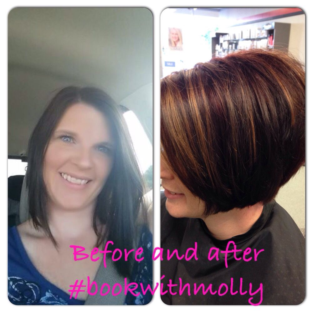 Before and after red violet with carmel highlights bookwithmolly