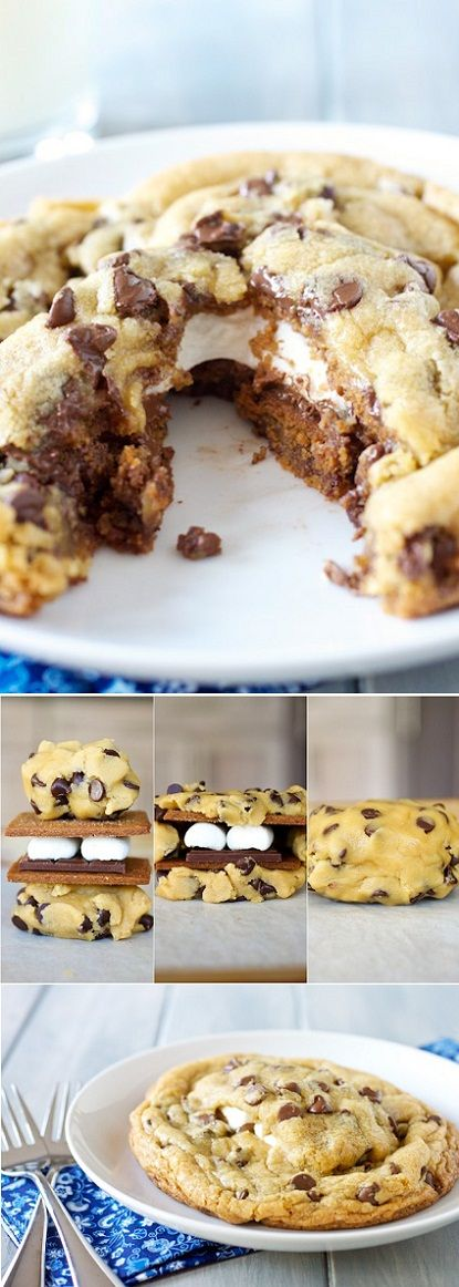 Chocolate S'mores Cookie ■1 cookie dough recipe, at room temperature   ■8 graham cracker squares, broken into halves  ■4 marshmallows, snipped in half lengthwise   ■1 full-size Hershey's bar, divided between each of the prospective cookies (makes 4 gigantic cookies)