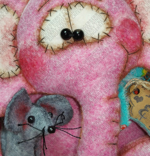 Peanut Elephant and Pip Mouse Pattern 211 by GingerberryCreek | felt ...
