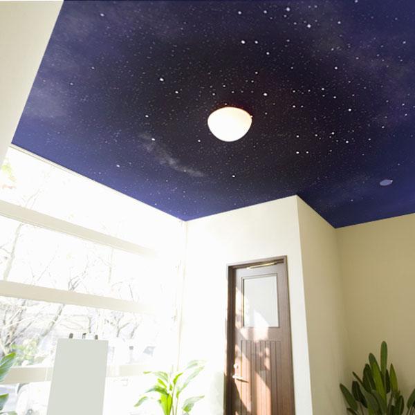 星の輝く夜空をイメージした天井用の壁紙です 照明を星やお月様に
