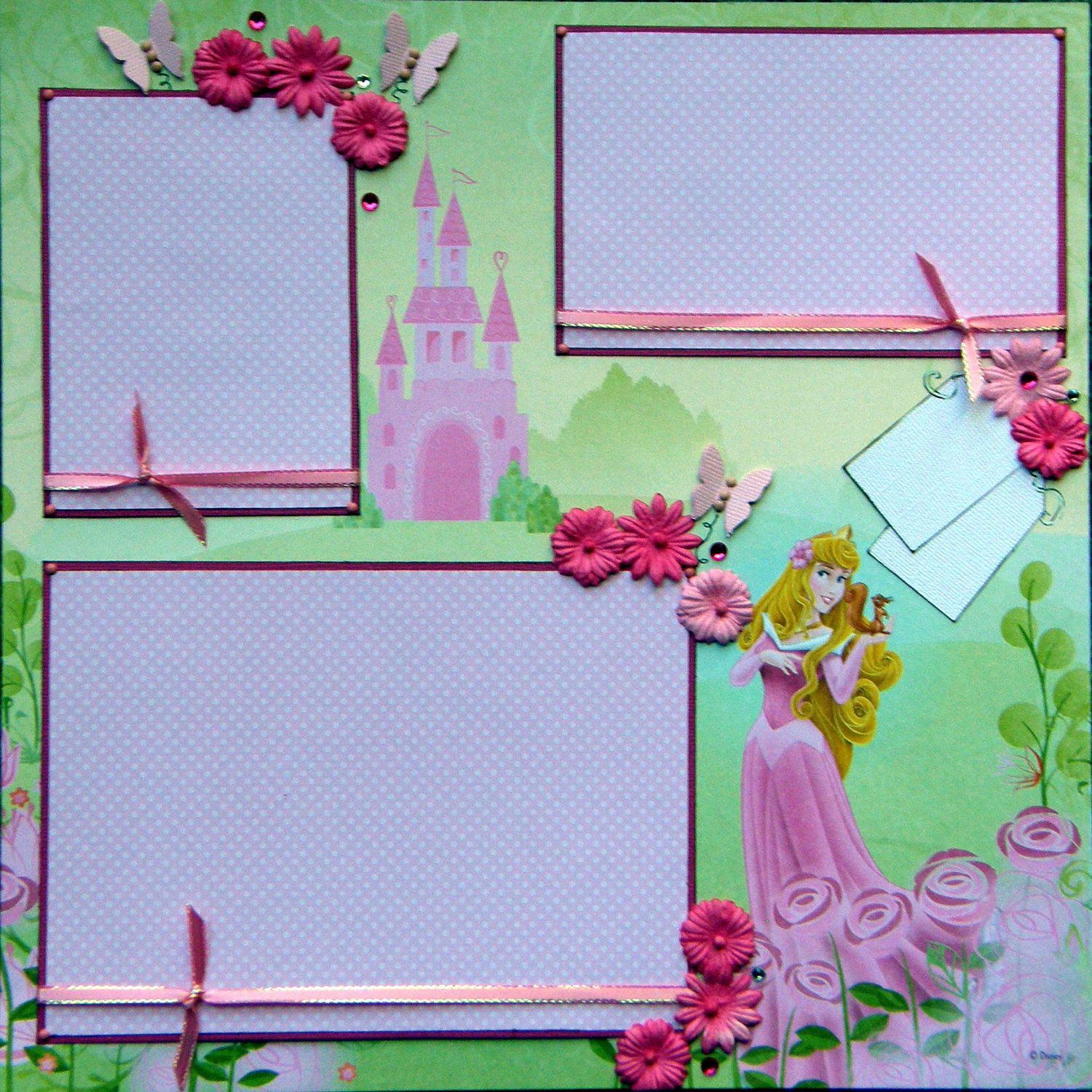 Scrapbook ideas names - 12x12 Premade Scrapbook Layout Featuring Disney S Aurora Add A Name For Free