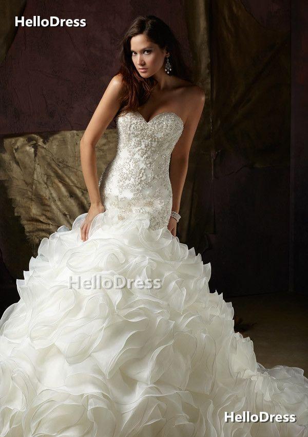 3cb1b7fa37d Sweetheart Mermaid Wedding Dress with Beaded Bodice and Ruffled Skirt on  Storenvy