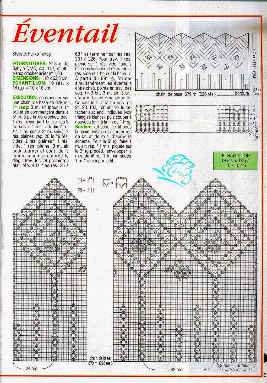 Cortina tejida al crochet - con diagrama y patrones | Cenefas ...