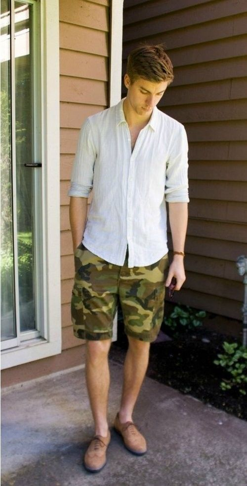 6849c23886dd3 Camouflage Shorts · Camo Shorts · Jeans Style · Shirt Style · Men Looks ·  Brogues · Loafers · Shop this look for $98: http://lookastic.com/men/