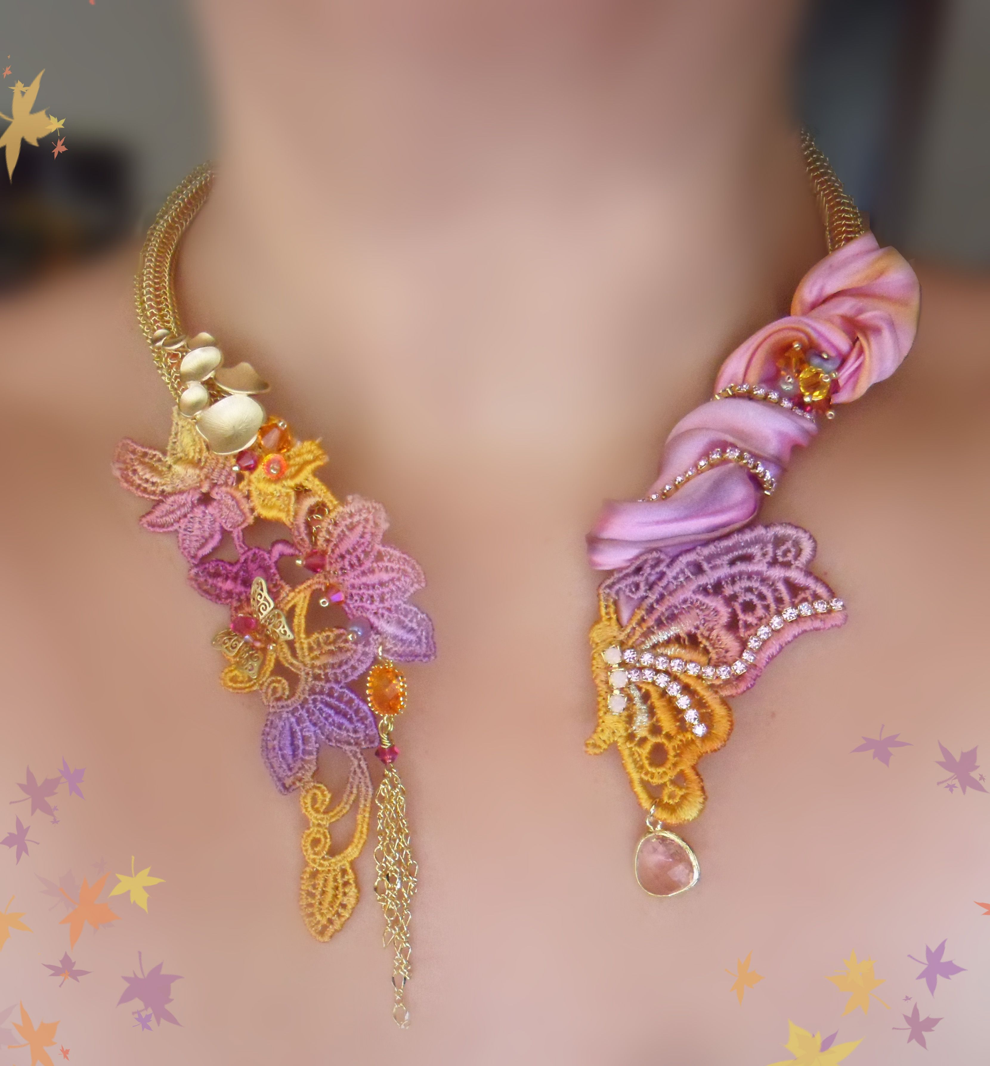 Necklace whit Shibori silk ribbon Serena Di Mercione Design