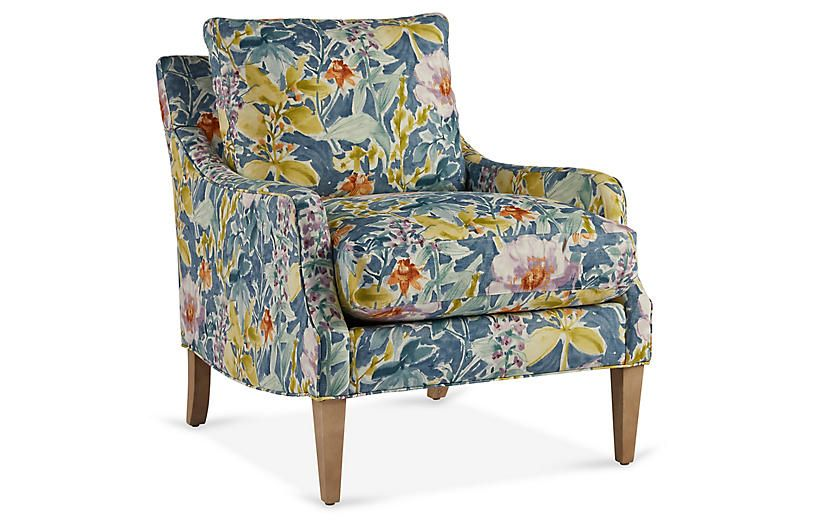 Best Giles Accent Chair Blue Floral Accent Chairs Blue 400 x 300