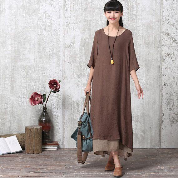 76803eca9eb4 Loose Fitting Long Maxi Dress - Summer Dress - Short Sleeve Sundress for Women  Coffee