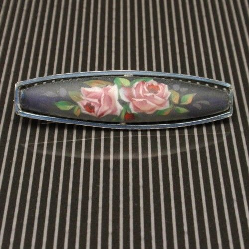 Pink Roses Bar Pin Vintage 935 Silver Matte Finish | eBay