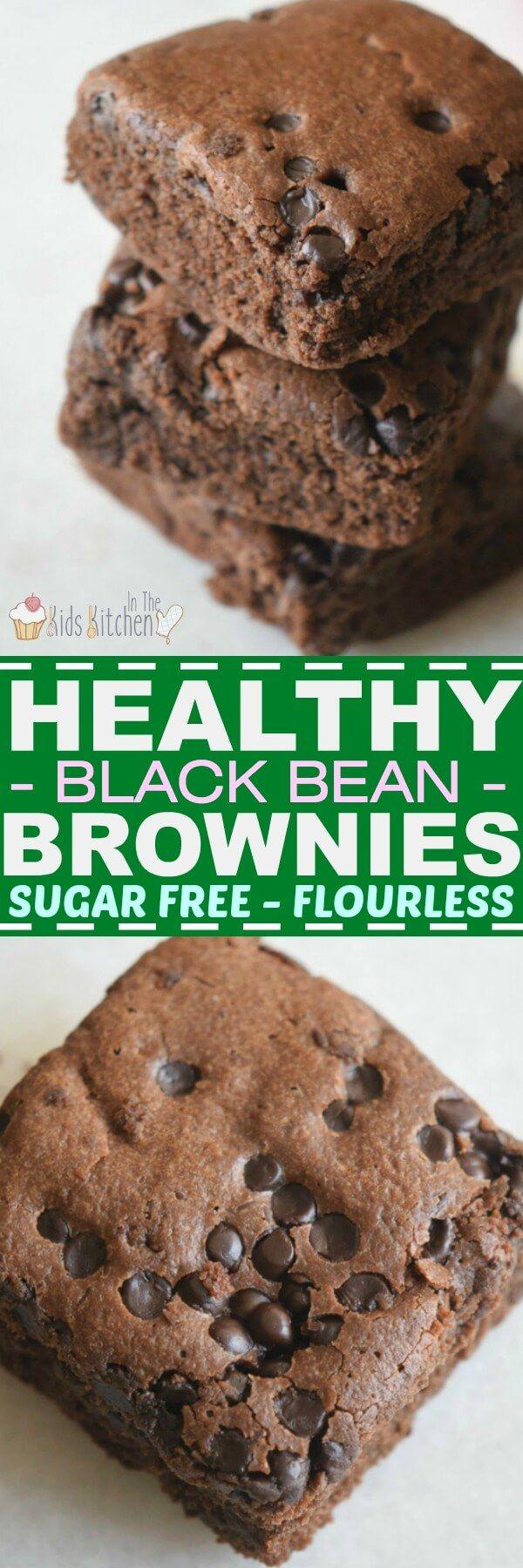 Healthy Black Bean Brownies (Sugar free, Flourless)